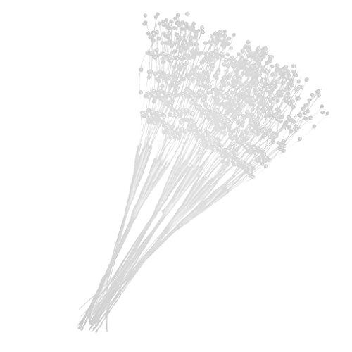 P Prettyia Blumen Staubblätter mit Perlen Köpfen Set/60Stück - Weiß, 21 - Strand Bouquet Hochzeit