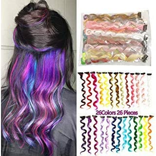 AllBeauty 26 Pieces Colored Party Highlights 20 Inch Clip On In Hair Extensions Fashion Multi-Colors Curly Hair Streak Synthetic Hairpieces (26 Colors/Pack)