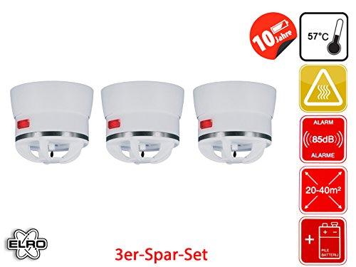 3er Set Extra kleiner Mini Hitzemelder CAVIUS, 85dB-Signal, optimal für Küche oder Badezimmer,...