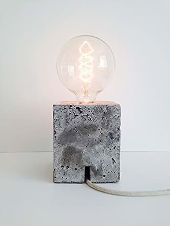 beton tischlampe lue one mit massiven betonsockel und edison vintage gl hbirne. Black Bedroom Furniture Sets. Home Design Ideas