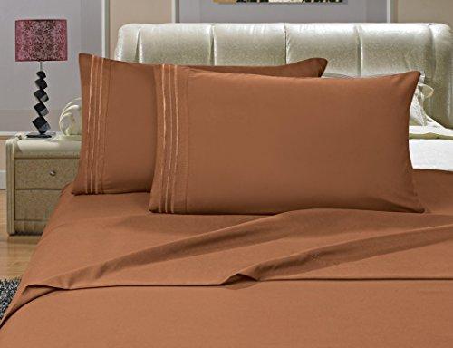Elegance Leinen-Bettlaken-Set, knitterfest, Fadenzahl 1500, seidig weich, luxuriös, 4 Stück, Tiefe Taschen bis 40,6 cm, bronzefarben -