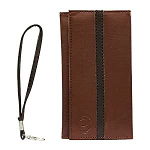 Jo Jo A5 S Series Leather Wallet Universal Pouch Cover Case For Lenovo A536 (Orange) Light Brown Black
