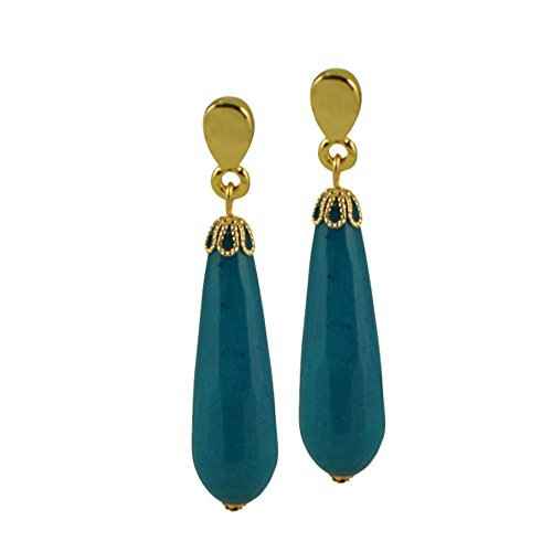 fresco-blue-robin-jade-gemstone-gold-tone-drop-pierced-earrings-with-gift-box