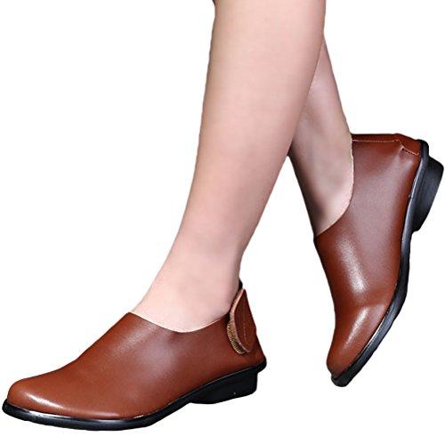 Vogstyle Damen Schuhe mit Klettverschluss Handgefertigten Retro Flach Lederschuhe Braun