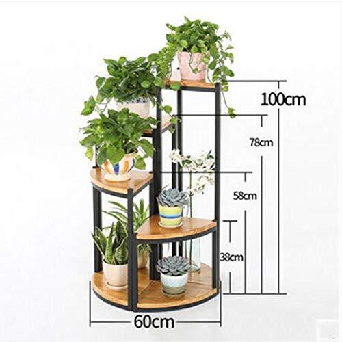 CAI Flower Stand-Flower Rack Eisen Art Floor Style Multilayer Massivholz Grünpflanzen Flower Regal Wohnzimmer Balkon Outdoor Sukkulenten Topf Racks,A + B + C + D -