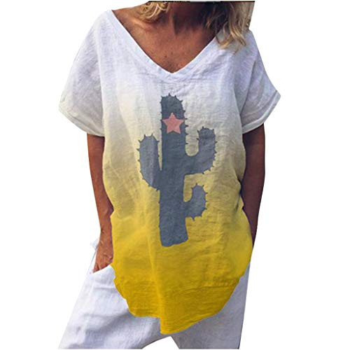 OIKAY Damen Kurzarm T-Shirt V-Ausschnitt Casual Sommer Lose Shirt Oversize Oberteile Frauen Casual Print Kurzarm V-Ausschnitt Sommer Top Bluse