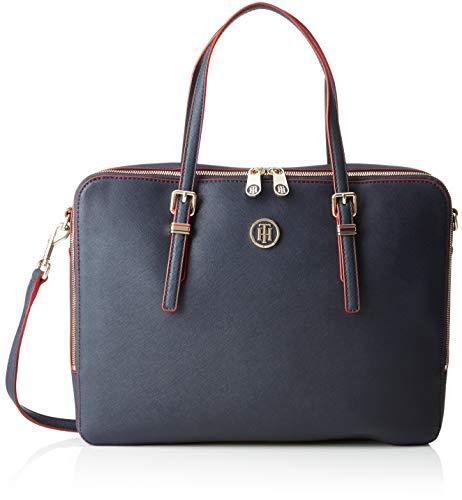 Tommy Hilfiger Damen Honey Computer Bag Laptop Tasche, Blau Navy/Red Paint, 6x28x37 cm