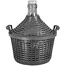 Home Damigiana con Cesto, Vetro/Plastica, Grigio, 25 litri