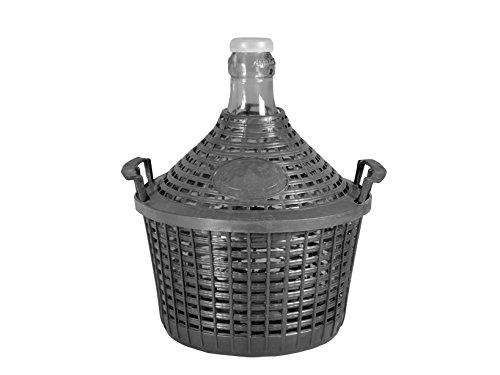 Home Große Korbflasche mit Korb, Glas/Kunststoff, Beige, 25 Liter