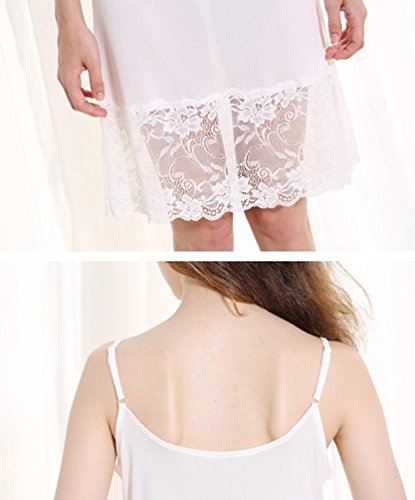 Bayamte Femme Tricotage Robes Bretelles Réglables Mi-longueur Caraco Spaghetti Jupon Blanc