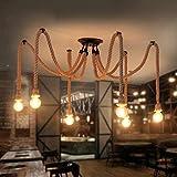 BOC William 337 Vintage Corda di Canapa lampadario Antico Classico Regolabile Fai-da-Te Lampada Ragno Luce soffitto Retro Edison Lampadina Lampada pedante per casa (Edizione: 6 Teste / 150 cm),6 Test