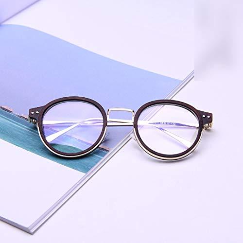 Shiduoli Stilvolle Retro-Brillenfassung für Brillen Unisex Brillen mit klarer Brille Nicht verschreibungspflichtige Brillen (Color : Brown)