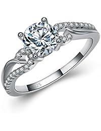 Fashmond- Bague enlacé de mariage fiancailles- Argent fin 925 et oxyde de zirconium- Idée cadeau anniversaire