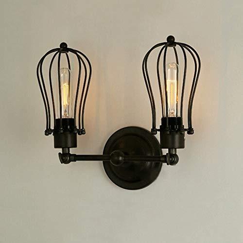 UOOK Vintage Industrie Metallkäfig Edison Wandleuchte Wandleuchte Lampe schwarz verstellbar fertig Kupferkopf mit E27 Sockel für Haus, Bar, Restaurants, Café, Club Dekoration Leuchte Beleuchtung (Glühlampe Fertig Wandleuchte)
