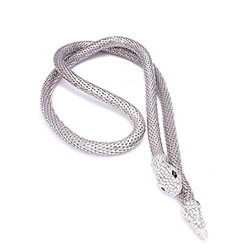 ette, Temptation Flexible Biegsam Snake Schmuck Halskette Halsreif Armband Schal Halter Biegsame Kette Twistable Shape Design Als Bund-Gurt,Silver ()