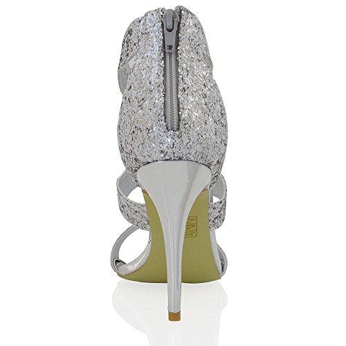 Essex Glam Sandalo Donna Tacco a Spillo Allacciatura Caviglia Argento Glitter