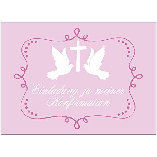 15 x Einladungskarten zur Konfirmation mit Umschlägen / 2 Tauben auf Rosa/Konfirmationskarten/Einladungen zur Feier