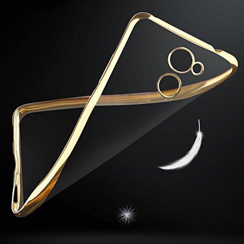 Huawei Y7 Prime / Huawei Enjoy 7 Plus Hülle, MSVII® Durchsichtig Weich TPU Silikon Bumper Hülle Schutzhülle Case Und Displayschutzfolie für Huawei Y7 Prime / Huawei Enjoy 7 Plus - Rose Gold JY60040 Gold