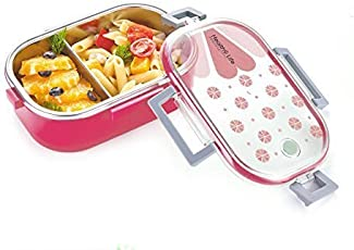 Clastik Stainless Steel School Transparent Printed Lid Lunch Box for Kids (Pink)