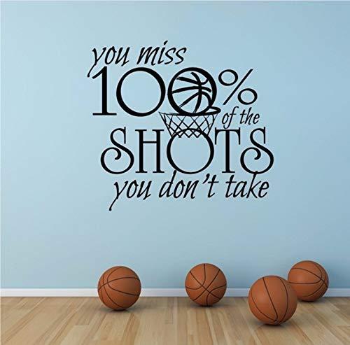 Xzfddn Motivationssport Zitat Wandtattoo Basketball Sport Zeichen Wandaufkleber Sie Vermissen% Aufnahmen, Die Sie Nicht Vinyl-Wandkunst Nehmen (Halloween-zeichen Eine Nehmen Sie)