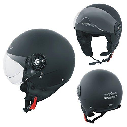 Scooter moto casco jet omologato ece 22-05 visiera avio nero opaco l