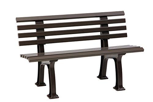 Sitzbank / Gartenbank 2-Sitzer: Ibiza, Länge 120cm, braun (hochwertiger Kunststoff, Parkbank Made in Germany)