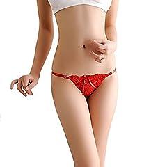 Idea Regalo - LOVETEA ❤️ Nappe da donna Nastri Bowknot Sexy perizoma in pizzo Mutandine Reggiseno intimo regolabile (Rosso)
