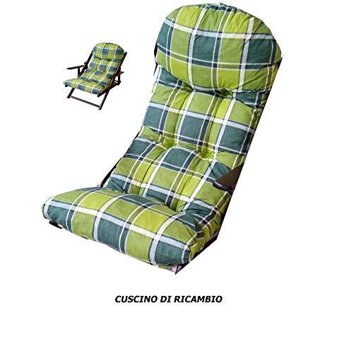 Liberoshopping Coussin Super rembourré de Rechange pour Fauteuil Chaise Longue Relax Tissu Coton Vert Carreaux