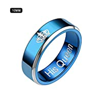 Goodtimera Stainless Steel Ring, Couple Style Polished Comfortable Hypoallergenic Anti-rust Unique Design Blue Noble Elegant