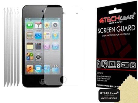TECHGEAR [5 Stück Displayschutz für Apple iPod Touch 4 / 4G / 4. Gen - Ultra Klare Schutzfolie für Apple iPod Touch 4 / 4G / 4. Gen - mit Reinigungstuch + Applikationskarte (Ipod-touch-fall 8gb)