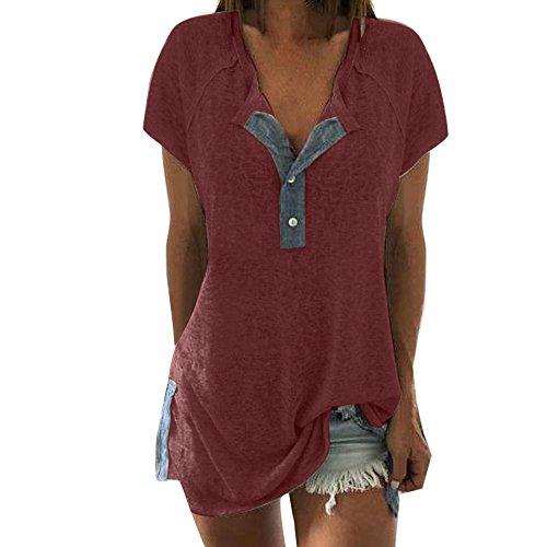 iHENGH Damen Top Bluse Bequem Lässig Mode T-Shirt Blusen Frauen lösen beiläufige Knopf Kurzschluss Hülsen Blusen T-Shirt Oberseiten des Patchworks(Wein, 2XL) -