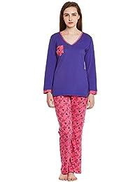Claura Cotton Pink and Blue Printed full sleeve Pyjama set (Night Suit Set )