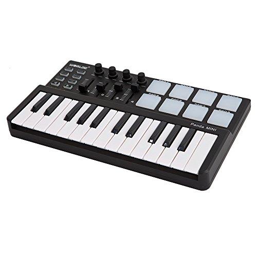 ammoon Masterkeyboard, mini, 25 Tasten, tragbar, USB-Keyboard und Drum Pad, Midi Controller