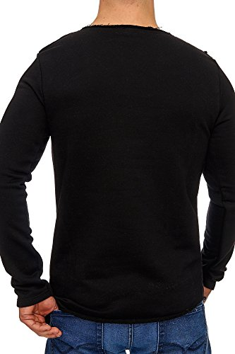 TAZZIO Herren Oversize Sweatshirt Pullover Hoodie 1233 Schwarz