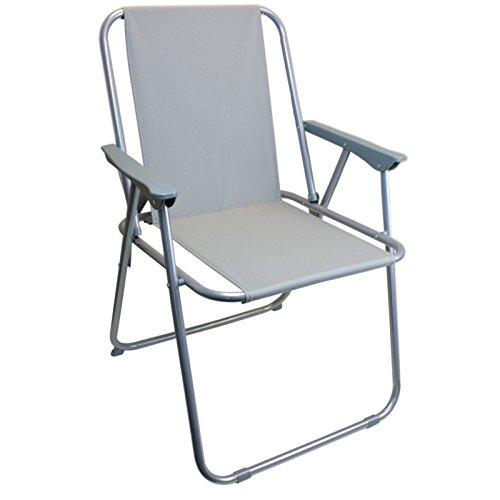 Smartweb Angelstuhl Anglerstuhl Faltstuhl Grau Campingstuhl Klappstuhl mit Armlehne praktisch robust leicht -