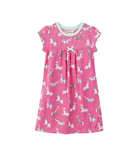 themd Polyester Short Sleeve Nighties, Pink (Paradise Horses), 6 Jahre (Polyester Nachthemd)