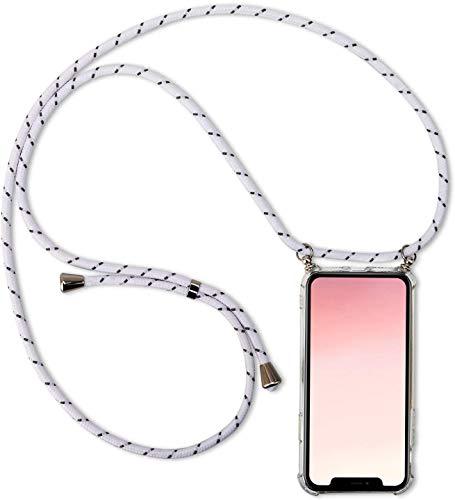 Herbests Kompatibel mit Samsung Galaxy S9 Plus Handykette Hülle mit Umhängeband Durchsichtig Necklace Hülle mit Kordel zum Umhängen Schutzhülle Silikon Handyhülle Kordel Schnur Case,Weiß Grau