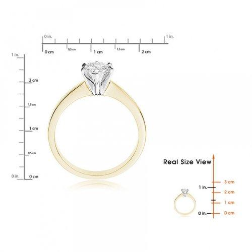Diamond Manufacturers, Damen, Verlobungsring mit 0.25 Karat F/VVS1 feinem und zertifiziertem Tropfendiamant in 18k Gelbgold, Gr. 41 - 6