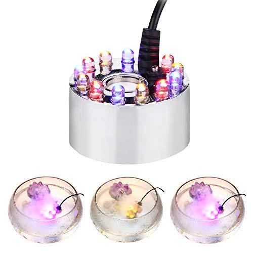 Huatuo Cambiare Colore 12 luci LED Mist Maker Fontana di Acqua Pond Fogger Atomizzatore umidificatore con Adattatore di Corrente alternata (Bianco)