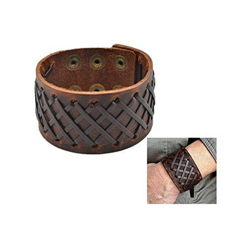 Original Tribe Hombres antiguos de cuero marrón Brazalete Cuero venda de muñeca del Wristband Handcrafted Jewelry SL2259
