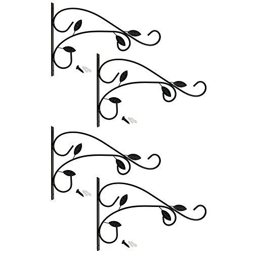 com-four® 4X Wandhalterung aus pulverbeschichteten Stahl für Blumenampeln und Windspiele, mit Schrauben und Dübel (4 Stück - Blätter)