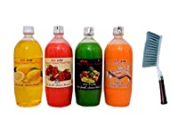 NATURAL LIQUID HAND WASH 1ltr. PACK - (ROSE+ LIME + MIXFRUIT + DEMINT).+Cleaning Brush with Hard & Long Bristles
