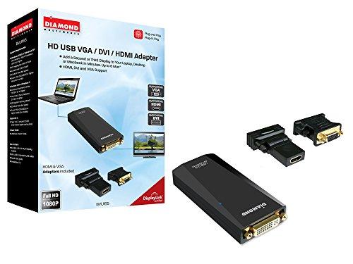 Preisvergleich Produktbild Diamond BVU195 HD USB 2.0 auf VGA / DVI / HDMI Adapter (DisplayLink DL-195 Chipset,  unterstützt Windows 10,  8.1,  8,  7) schwarz USB 2.0