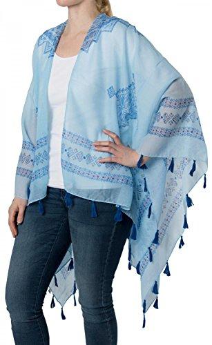 styleBREAKER leichter Sommer Poncho mit Ethno Muster, Quasten, Strand, Boho Style, Damen 08010022, Farbe:Hellblau (Jacken Blau Inka)