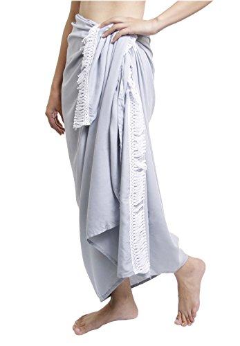 Lofbaz Damen Strand Pareo Sarong Wickeltuch Strandkleid mit Fransen Design #1 Grau
