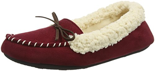 Dearfoams - Microsuede Moc With Quilted Tab And Memory Foam, Pantofole Donna Rosso (Cabernet 10604)