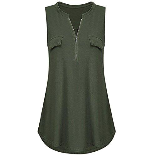 MRULIC Neue Frauen Lose Chiffon Tank Top Kreuz zurück Saum Gelegt Reißverschluss T-Shirts Tops (EU-40/CN-L, Z-Z-Grün) (Weihnachts-pyjamas Kariertes)