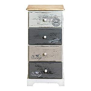 Rebecca Mobili Schubladenschrank 4 Schubladen, Hochkommode Vintage, für Schlafzimmer Badezimmer, Paulownienholz, Weiß Grau - Maße: 75 x 35 x 29 cm (HxLxB) - Art. RE4333