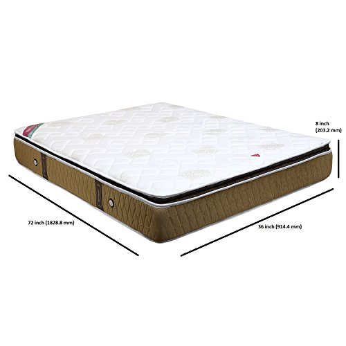 Springwel Collection Pillow-Top-8 8 Inches Pocket Spring Mattress (White and Brown) Image 2