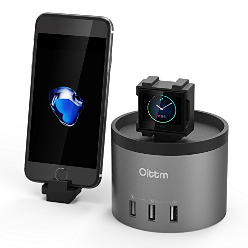 Supporto di Ricarica, Oittm Stazione di Ricarica per Fitbit Blaze 3 USB Dock per Smart Phone Delicato Senso Toccare Ricarica ( Spazio Grigio )